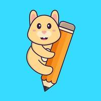 lindo conejo sosteniendo un lápiz. aislado concepto de dibujos animados de animales. Puede utilizarse para camiseta, tarjeta de felicitación, tarjeta de invitación o mascota. estilo de dibujos animados plana vector