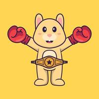 Cute rabbit in boxer costume with champion belt. Animal cartoon concept isolated. Can used for t-shirt, greeting card, invitation card or mascot. Flat Cartoon Style vector
