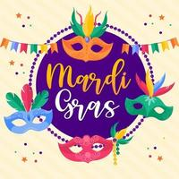 Holiday poster or placard template. Mardi Gras  vector design element
