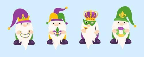 Mardi Gras festive vector design hat and crown on head