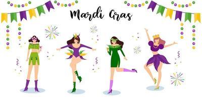 Vector illustration Mardi Gras carnival woman dance with fun