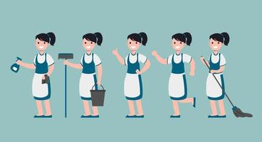 set of Cleaning staff woman in cartoon character  with different actions vector