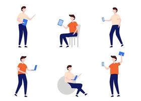 Set of man use technology device in cartoon character flat vector