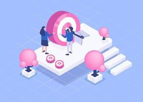 Two young business people Plan to work and create target isometric vector