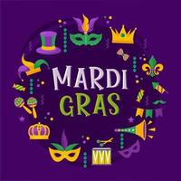 Vector typographical illustration of Mardi Gras beauty purple background with rhombus texture and multicolored festive flags, confetti, drums and more. Celebration greeting card