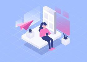 Visual young woman use smartphone send message isometric vector