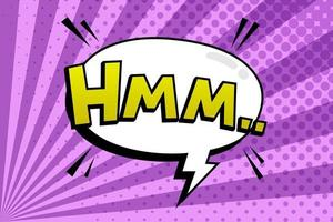 Lettering hmm. Comics book abstract background. Comic text sound effects. Vector comic thunder icon speech phrase, Boom illustration.