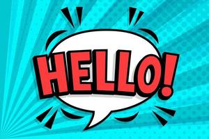 HELLO Comics book abstract background. wording in comic speech bubble in pop art style on burst background vector