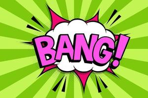 BANG Comics book abstract background. wording in comic speech bubble in pop art style on burst background vector