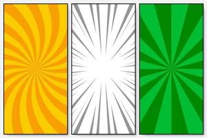 Set of orange, green, white rays and spiral background pop art retro vector illustration kitsch drawing