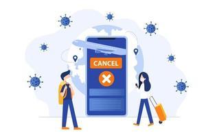 vuelo cancelado debido a la epidemia de coronavirus. pasajeros masculinos y femeninos con máscaras de protección esperando en la terminal del aeropuerto. ilustración vectorial. vector