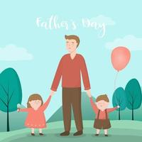 A father leads his son and daughter to take them on a Father's Day event vector