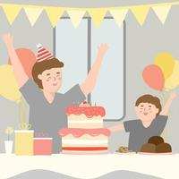 Mom surprises dad by buying a cake for son to give to dad on Father's Day. vector