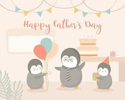 Baby Penguin hosts a Father's Day party at home for Father Penguin. vector