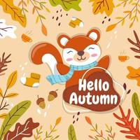 Squirrels find and store acorns in the fall as a winter food. vector