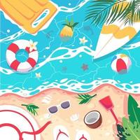 Summer time Scene. Aerial view of the seaside with inflatable rafts, vector