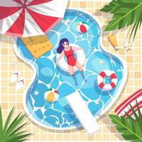 ariel vista de la piscina mujeres en traje de baño descansan sobre anillos de natación. vector