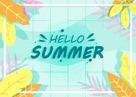 Hello Summer Background image of yellow leaves on light green grid background and text vector
