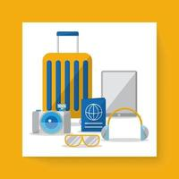Drawing symbol and icons travel in cartoon vector