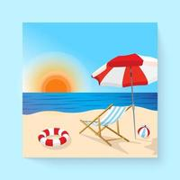 Summer Beach landscape cartoon  vector