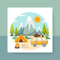Travel scene with camping in nature forest on summer vector