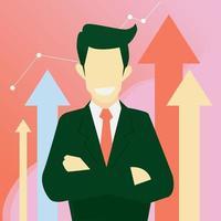 Businessman pride in successful business cartoon vector