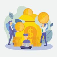 Business People With Coin Money Currency Rich Finance Success vector