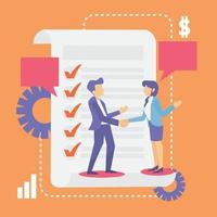 Business Friendship Agreement Idea with successful vector