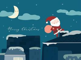 Merry Christmas with Santa Claus holding red bags standing on the chimney to give gifts. vector