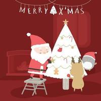 feliz navidad con santa claus y renos decorando los regalos en el arbol de navidad. vector