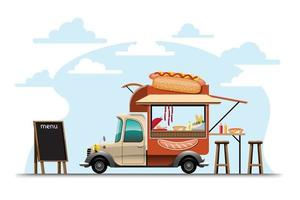 Food truck with Hotdog shop drawing vector