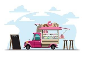 Food truck with donut shop drawing vector