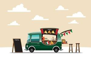 The food truck side view with pizza on nature background vector