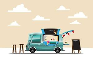The food truck side view with menu ice cream vector
