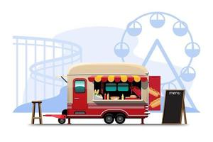 Trailer food truck drawing design style flat vector