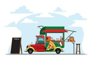 Food truck with Pizza shop drawing vector