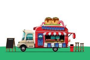 Food truck with Takoyaki shop Japanese snack vector