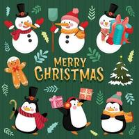 Merry Christmas icon with snowman, pine, leaves, gift boxes and penguins. vector