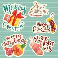 Merry Christmas Lettering Design Set. vector