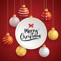 Merry christmas card with ball on red background vector