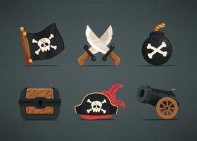 Set of 6 asset item for pirate character. vector