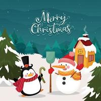 Merry christmas card with penguin and snowman on snow and pine background vector