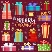 Merry christmas card with colorful gift box vector