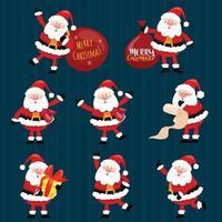Collection of Christmas Santa Claus. vector