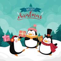 Merry christmas card with penguin on background with mountain and pine vector