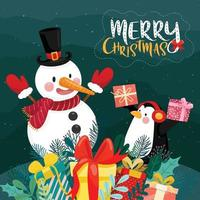 Merry christmas card with gift box, penguin and snowman on snow and pine background vector