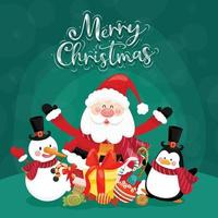 Merry Christmas card with santa, snowman, penguin and gift box. vector