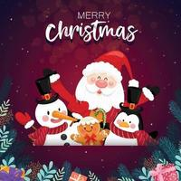 Merry Christmas with Santa Claus and various gift boxes on the snowy background with house and moon as background. vector