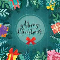 Merry Christmas with colorful gift boxes decorated in circles vector