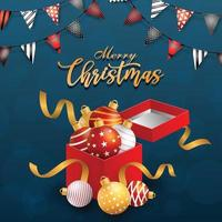 Merry christmas icon with ball on blue background vector
